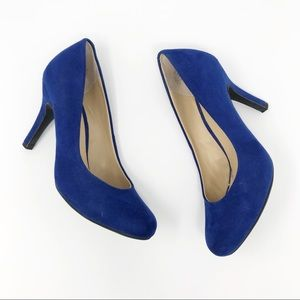 Kelly & Katie Blue Faux Suede Isabel Pumps
